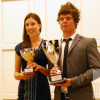 Ana Verchenova and Tommy King – winners of the Mtel golf championship