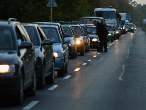 Kilometres of traffic at the entrance of Sofia
