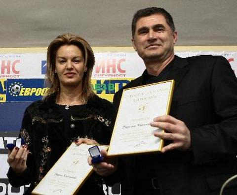 Stefka Kostadinova gave a medal to docent Lozan Mitev