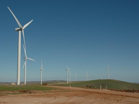 The wind farm in Kardam under construction