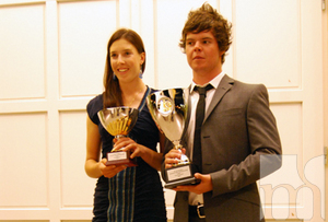 Ana Verchenova and Tommy King - winners of the Mtel golf championship